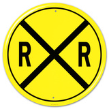 Railroad Crossing RR X-ing Round Placa de lata