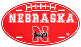 Nebraska Huskers Oval License Plate Tin Sign