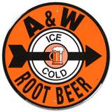 A and W Root Beer Soda Metal Round Plaque en métal