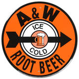 A and W Root Beer Soda Metal Round Tin Sign