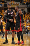 Indianapolis, IN - May 24: Miami Heat and Indiana Pacers - LeBron James and Dwyane Wade Photographic Print by Nathaniel S. Butler