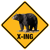 Black Bear Crossing Tin Sign