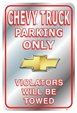 Chevrolet Chevy Truck Parking Only Tin Sign