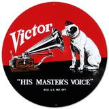 RCA Nipper Victor Record Phonograph - Metal Tabela