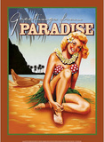 Greetings from Paradise Tropical Bikini Sexy Girl Emaille bord