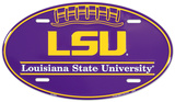 LSU Tigers Oval License Plate Tin Sign