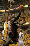 Indianapolis, IN - May 24: Miami Heat and Indiana Pacers - LeBron James, Danny Granger and Leandro  Photographic Print by Jonathan Daniel