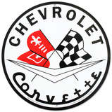 Chevrolet Chevy Corvette Racing Flags Round - Metal Tabela