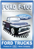 Ford Motor Company F-100 Pickups Trucks Tin Sign