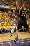 Indianapolis, IN - May 24: Miami Heat and Indiana Pacers - David West and Shane Battier Fotografie-Druck von Ron Hoskins