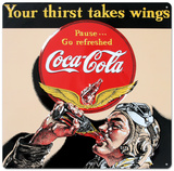 Drink Coca Cola Coke Aviator Man Your Thirst Takes Wings Tin Sign