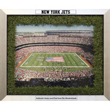 New York Jets Field Game Used Turf Matting Collage w/ Engraved Nameplates Framed Memorabilia