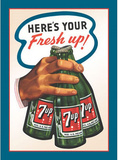 7Up Seven Up Soda Here's Your Fresh Up Cartel de chapa