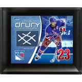 Chris Drury New York Rangers Game Used Net Photo Collage Framed Memorabilia