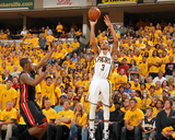 Indianapolis, IN - May 24: Miami Heat and Indiana Pacers - George Hill and Mario Chalmers Photographic Print by Nathaniel S. Butler