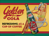 Golden Girl Cola Refreshing as a Cup of Coffee Tin Sign