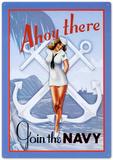 Ahoy There Join The Navy Sailor Sexy Girl Plaque en métal