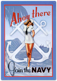 Ahoy There Join The Navy Sailor Sexy Girl Cartel de chapa