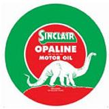 Sinclair Opaline Motor Oil Gasoline Logo Round Blikskilt