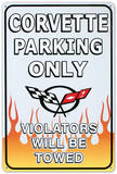 Chevrolet Chevy Corvette Parking Only Placa de lata
