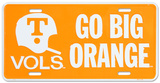 University of Tennessee Go Big Orange License Plate Plaque en métal
