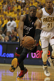 Indianapolis, IN - May 24: Miami Heat and Indiana Pacers - Dwyane Wade and David West Fotografie-Druck von Jonathan Daniel