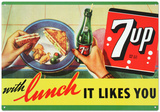 7Up Seven Up Soda With Lunch Likes You Tin Sign