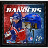 Michael Del Zotto NYR Floating Mini Helmet Collage w/ Game Used MSG Net and Jersey Swatch Framed Memorabilia