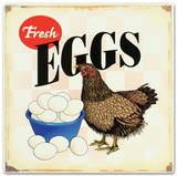 Fresh Eggs Hen Chicken Distressed Emaille bord