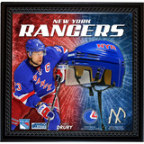 Chris Drury NYR Floating Mini Helmet Collage w/ Game Used MSG Net and Jersey Swatch Framed Memorabilia
