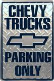 Chevy Truck Parking Only Tin Sign
