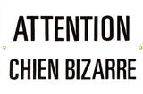 Attention Chien Bizarre Warning Strange Dog Tin Sign