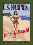 US Marines Hit the Beach Soldier Sexy Girl Tin Sign
