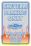 Chevrolet Chevy Chevelle Car Parking Only Blikskilt