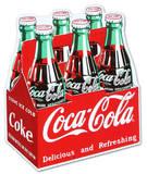 Coca Cola Coke Carton 6-Pack Bottles Plaque en métal