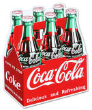 Coca Cola Coke Carton 6-Pack Bottles Cartel de chapa
