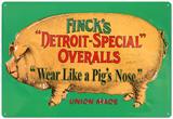 Finck's Green Pig Vintage Metal Blechschild