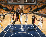 Indianapolis, IN - May 24: Miami Heat and Indiana Pacers - LeBron James and Roy Hibbert Photographic Print by Nathaniel S. Butler
