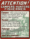 Attention Campers Hunters Fishermen Wall Sign