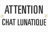 Attention Chat Lunatique Warning Crazy Cat Tin Sign