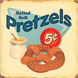 Salted Soft Pretzels 5 Cents Distressed Tin Sign