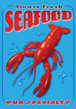 Always Fresh Seafood Lobster Tin Sign