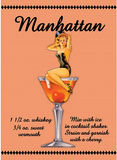 Manhattan Drink Recipe Sexy Girl Plaque en métal