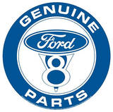 Genuine Ford Parts V-8 Round Tin Sign