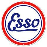 Esso Oil Gasoline Logo Round Plakietka emaliowana