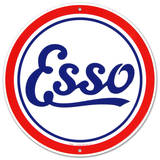 Esso Oil Gasoline Logo Round - Metal Tabela