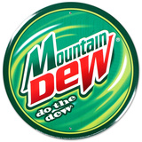 Mountain Dew Soda Round Tin Sign