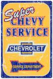 Super Chevy Chevrolet Service Car Distressed Plechová cedule