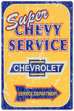 Super Chevy Chevrolet Service Car Distressed Pltskylt