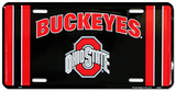 Ohio State Buckeye Black License Plate Plechová cedule